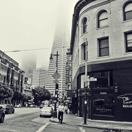 transamerica: San Francisco, US - October 19, 2011: Street of Downtown and Transamerica Pyramid in San Francisco. Transamerica Pyramid, with 260 meters, is the tallest skyscraper in the city Editorial