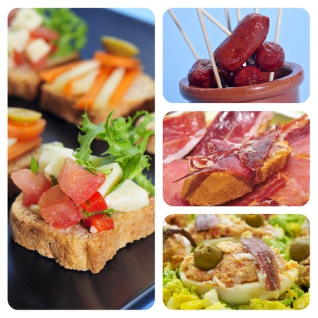 a collage of four pictures of different spanish tapas, as canapes, fried chorizos, pa amb tomaquet and serrano ham or stuffed eggs photo