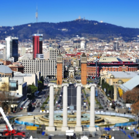 faked: faked tilt shift of of placa de Espanya from Montjuich, in Barcelona, Spain Stock Photo
