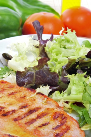 closeup of a combo platter with grilled chicken and green salad Stock Photo - 15685753