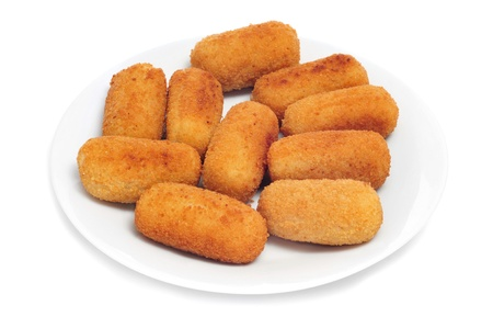 closeup of a plate with spanish croquettes served as tapas photo