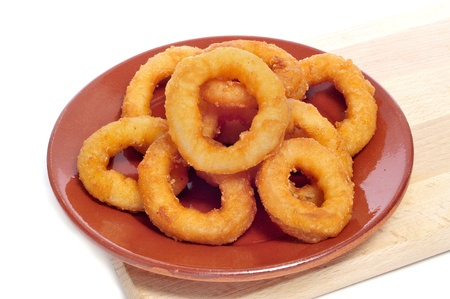 kitchen spanish: a plate with spanish calamares a la romana, squid rings breaded and fried Stock Photo