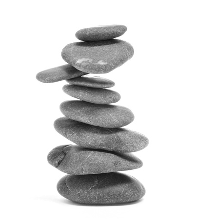 a pile of balanced zen stones on a white background Stock Photo - 15727032