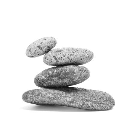 a pile of balanced zen stones on a white background Stock Photo - 15727048