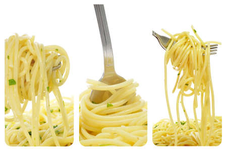 gourmet kitchen: a collage of three pictures of spaghetti with oregano