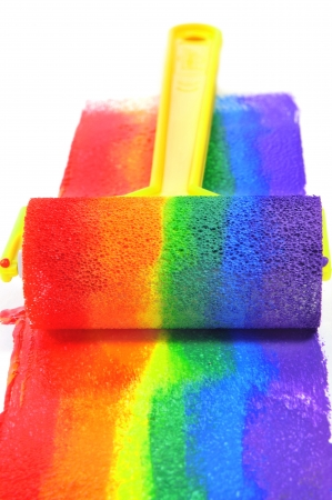 a rainbow painted with a paint roller on a white background