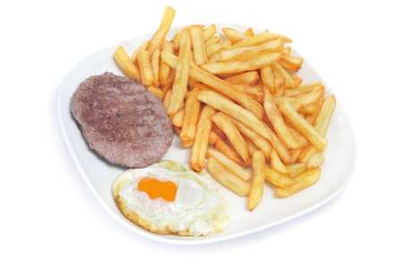 plato: closeup of a combo platter with fried egg, burger and french fries