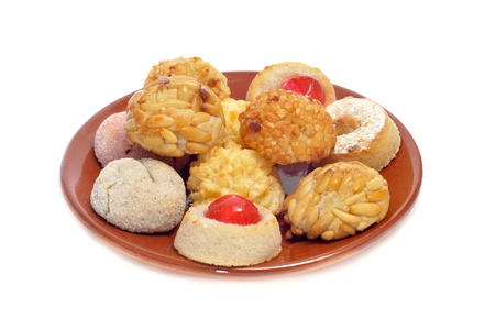 panellets: closeup of a plate with panellets, typical pastries of Catalonia, Spain, eaten in All Saints Day