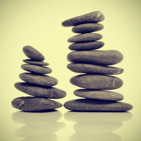 picture of a pile of balanced zen stones with a retro effect Stock Photo - 15929135