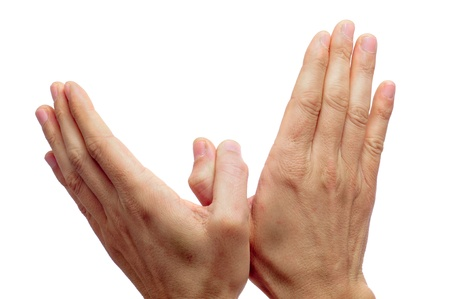 two man hands forming a dove of peace on a white background Stock Photo - 15929134