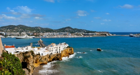 Sa Penya District and port in Ibiza Town, Balearic Islands, Spain Imagens