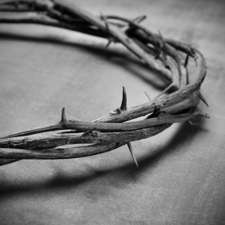 closeup of a representation of the Jesus Christ crown of thorns in black and white photo