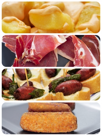 a collage of different spanish tapas, such as patatas bravas, pinchos de chorizo, jamon serrano or croquettes photo