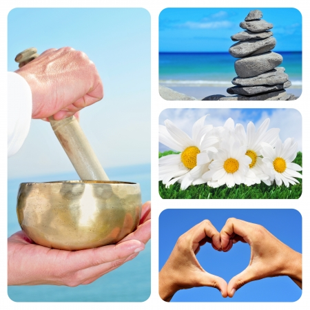 a collage of different relaxing scenes, such as the sound of a tibetan bowl, a stack of stones, or a bunch of white daisies photo