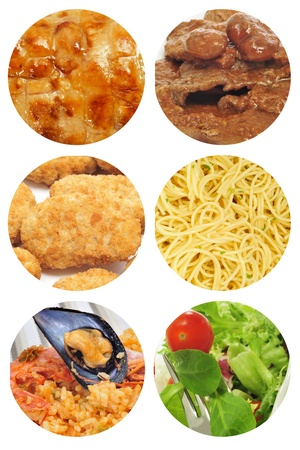 cornsalad: a collage of different food dishes collage such as roasted chicken, beef stew, spaghetti, salad or spanish paella Stock Photo