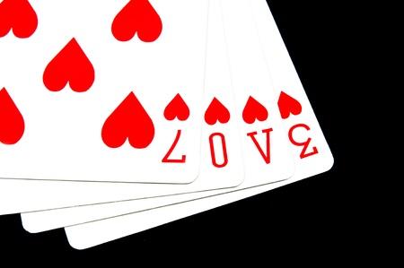 pips: woord liefde geschreven met hart pips speelkaarten