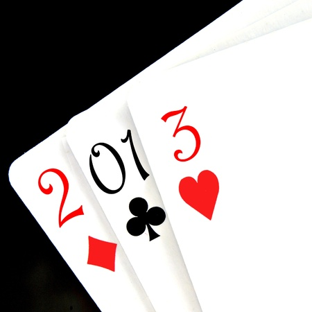 2013, the new year, written with playing cards photo