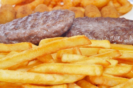 closeup of a spanish combo platter with burgers, croquettes, calamares and french fries Stock Photo - 16170122