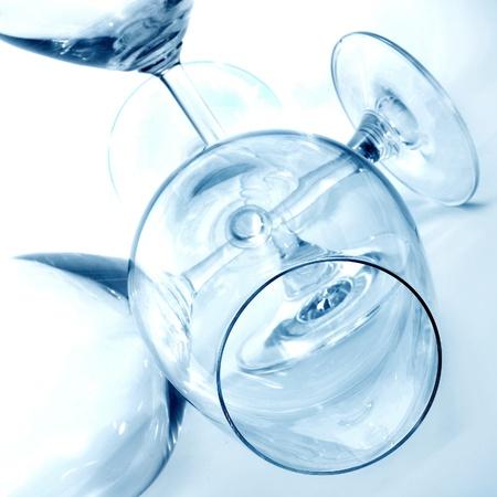 stemware: closeup of some empty wine glasses in a club