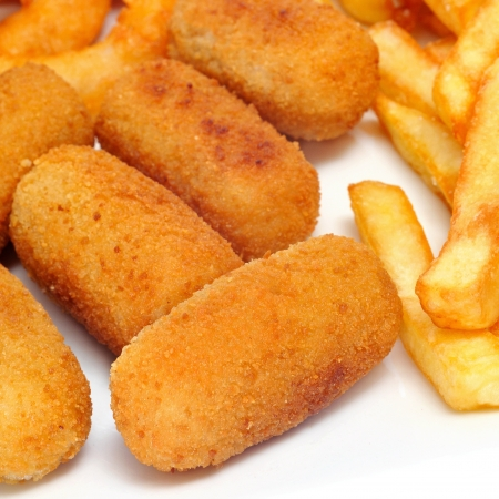 croquettes: french fries and spanish croquettes and calamares a la romana