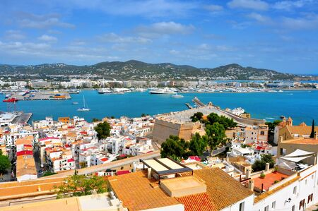 castle district: aerial view of old town and port of Ibiza Town, Balearic Islands, Spain Stock Photo