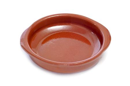 cazuela: an earthenware casserole on a white background