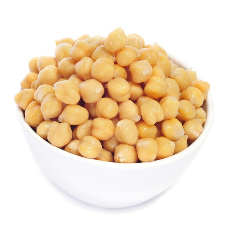 garbanzo bean: closeup of a bowl with boiled chickpeas on a white background