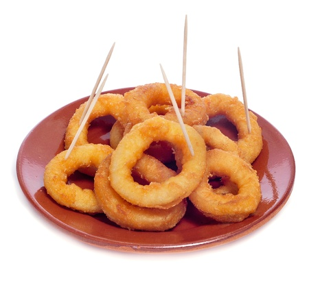 calamares: a plate with spanish calamares a la romana, squid rings breaded and fried, served as tapas
