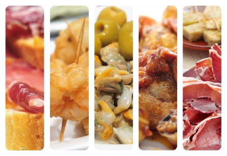 appetizers menu: collage of different spanish tapas, such as spanish serrano, berberechos or tortilla de patatas