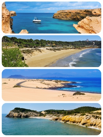 spanish landscapes: a collage of different beaches of different places of Spain, such as Formentera, Salou, Fuerteventura or Sitges