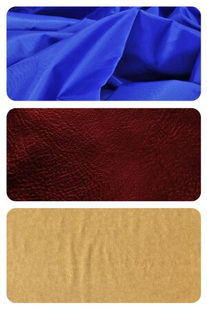 collage of different materials and textures, such as blue satin fabric, brown leather or manila paper photo