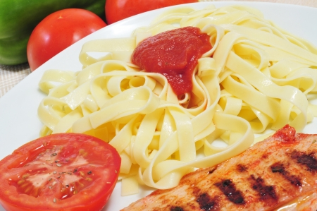 closeup of a plate with tagliatelle with tomato sauce and grilled chicken meat Stock Photo - 16487389