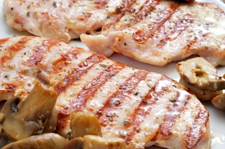 closeup of a plate with some slices of grilled chicken and cooked sliced mushrooms Stock Photo - 16487393