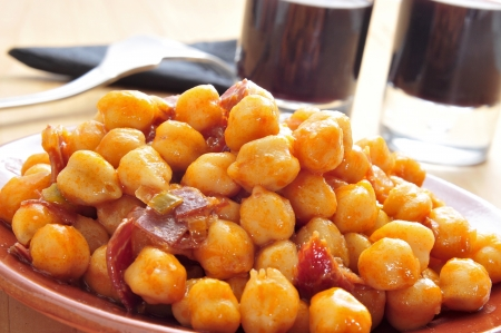 closeup of a plate with spanish garbanzos con jamon, chickpeas with serrano ham, served as tapas Stock Photo - 16520364