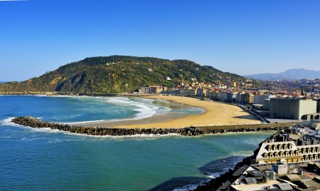 san sebastian: Zurriola Beach and Urumea River mouth in San Sebastian, Spain, in autumn Stock Photo