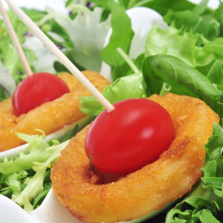 calamares: a plate with spanish calamares a la romana, squid rings breaded and fried, and cherry tomatoes in a bed of lettuce Stock Photo