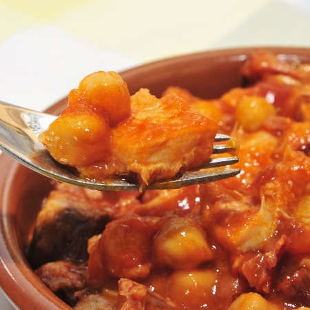 stew: spanish callos, a stew with beef tripe, chickpeas and chorizo typical of Spain