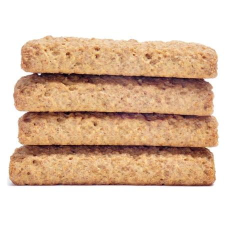 a pile of digestive biscuits on a white background Stock Photo - 16590289