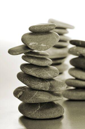 closuep of some piles of balanced zen stones Stock Photo - 16609107