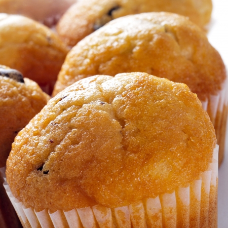 bakery shop: closeup of some delicious chocolate chip muffins