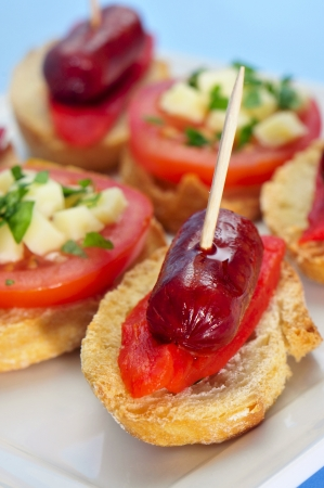 closeup of a plate with spanish pinchos, some with chorizos an red peppers, and some with tomato and, cheese and herbs photo