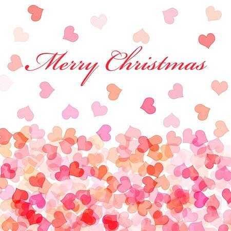oracion: frase Feliz Navidad y corazones de diferentes colores sobre un fondo blanco