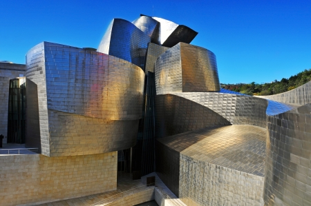 Bilbao, Spain - November 13, 2012: Guggenheim Museum Bilbao in Bilbao, Spain. The famous museum, coated with titanium sheets, was designed by Frank Ghery