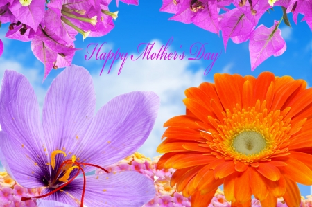 happy mothers day written in a background with flowers of different colors and the blue sky photo