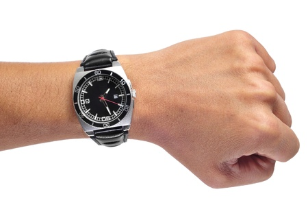 watch over: a men wearing a black watch with black leather strap over a white background Stock Photo