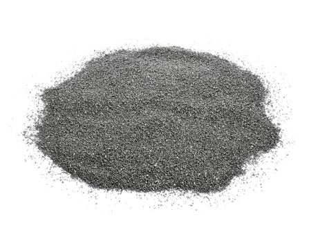 silt: closeup of a pile of gray gravel on a white background