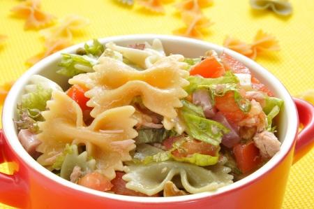 pasta salad: closeup of a bowl with refreshing pasta salad