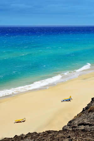 view of a white sand beach in Fuerteventura, Canary Islands, Spain Stock Photo - 16823674