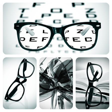 long sightedness: collage of some different pictures about optometry and eyeglasses Stock Photo