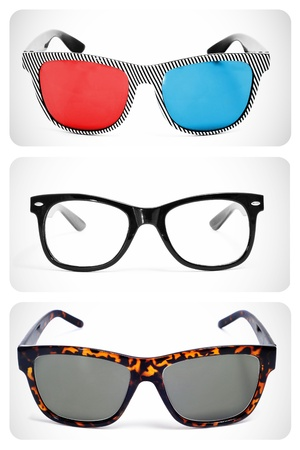 collage of some different retro-styled eyeglasses, such as 3D glasses, lenses and sunglasses photo